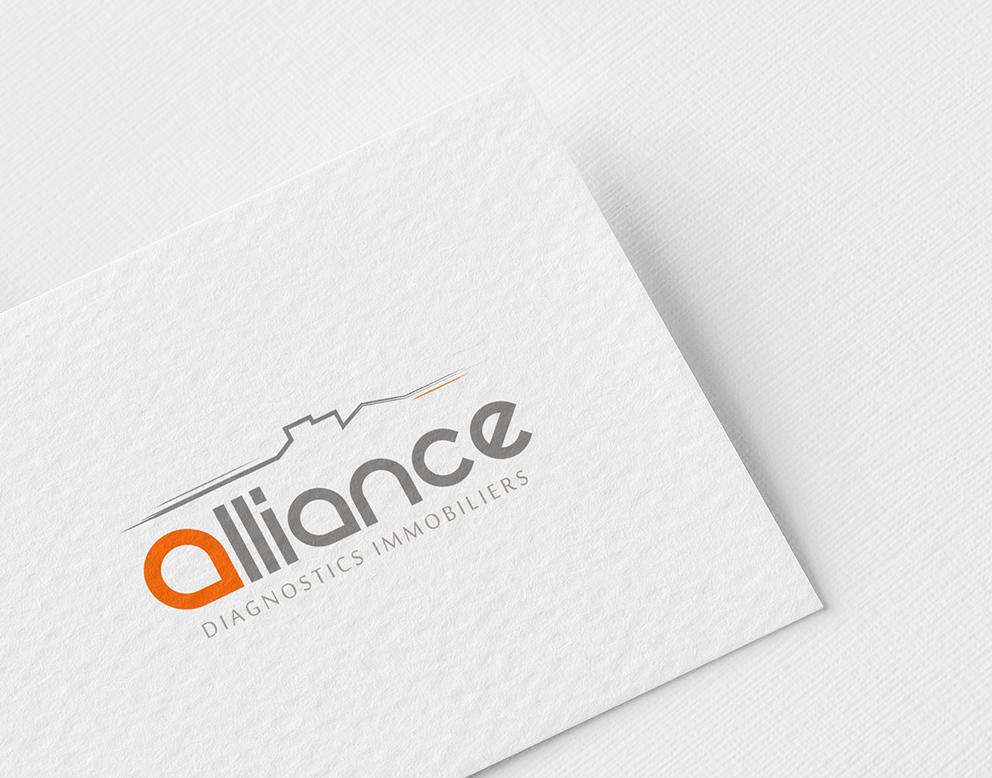 creation logo immobilier orange gris