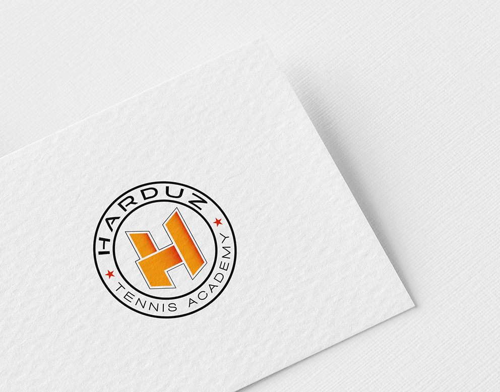 logo tennis rond orange noir